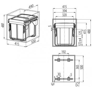 Šiukšliadėžė ištraukiama 450mm su švelniu pritraukimu (be fasado tvirtinimo)