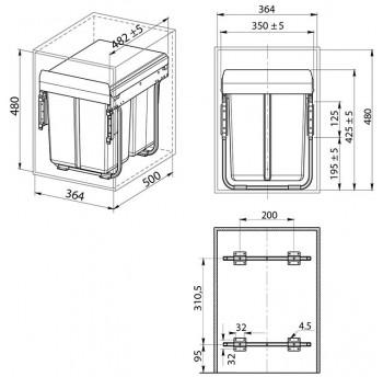Šiukšliadėžė ištraukiama 400mm su švelniu pritraukimu (su fasado tvirtinimu)