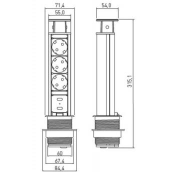 Biuro rozetė ištraukiama 3 lizdų, 2xUSB jungtis (su 1,5m laidu)