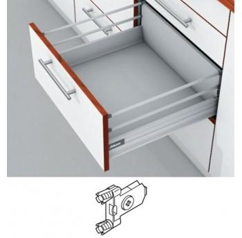 Blum Tandembox stalčius su šv. pritraukimo funkcija, H-204mm (65kg) su 2 kartelėmis, su gręžiamu fasado laikikliu