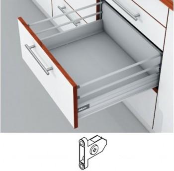 Blum Tandembox stalčius su šv. pritraukimo funkcija, H-204mm (65kg) su 2 kartelėmis, su prisukamu fasado laikikliu