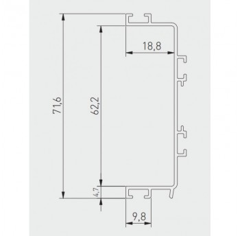 Vello centrinis profilis C horizontalus, baltas (4,1 m)