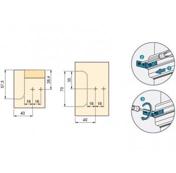 Tvirtinimas horizontaliems profiliams su plečiančiu varžtu