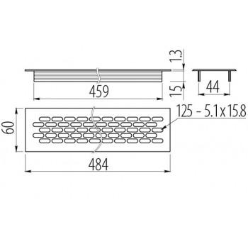 Ventiliacijos grotelės 60x480mm