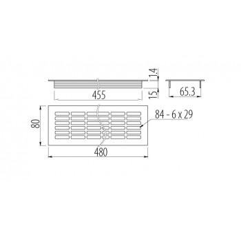 Ventiliacijos grotelės 80x480mm