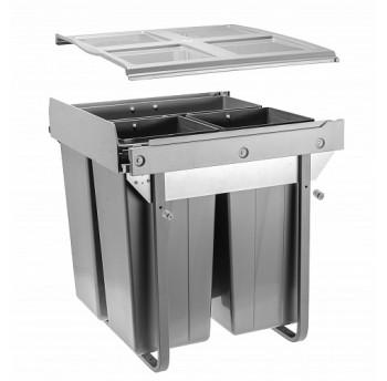Šiukšliadėžė ištraukiama 600mm su švelniu pritraukimu (su fasado tvirtinimu)